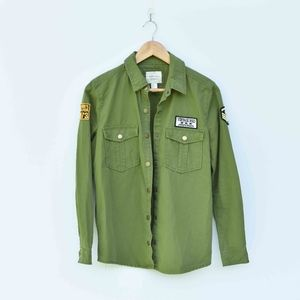 Forever 21 Patched Green Button Up Shirt/Jacket